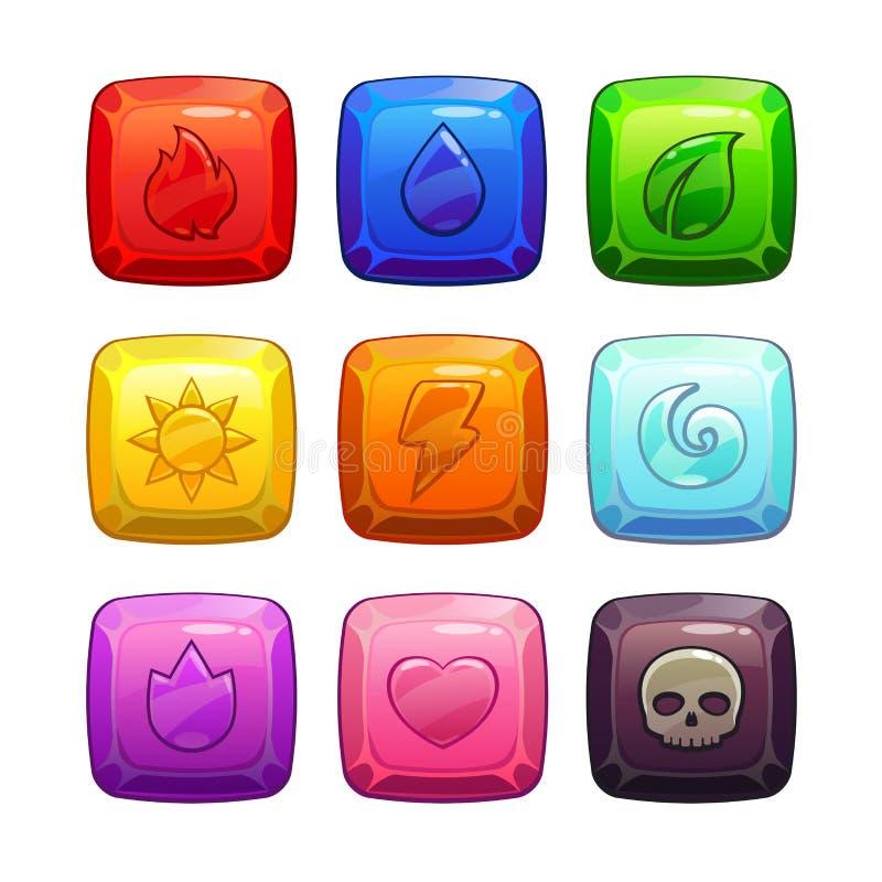 Colorful gemstones with nature elements symbol stock illustration