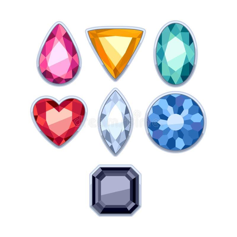Colorful gemstones in silver rim vector royalty free illustration