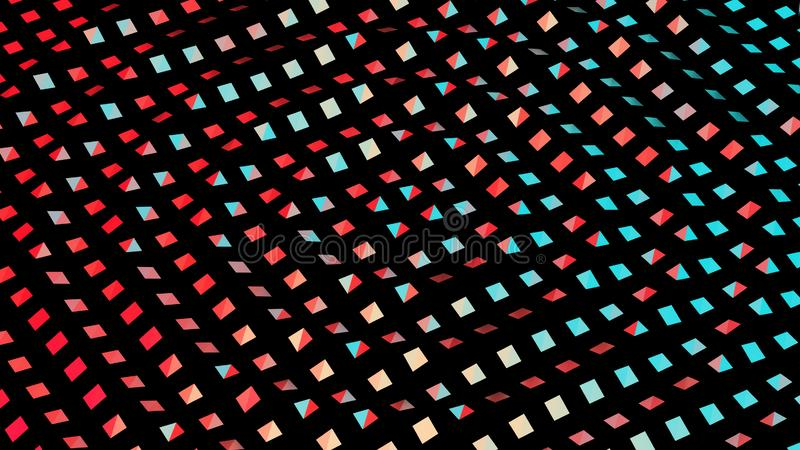 Colorful geometric abstract background with lots of squares 3D illustration stock image