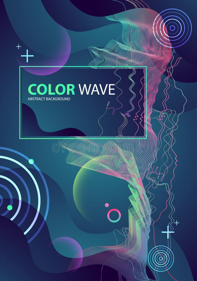 Colorful geometric background design. Wave composition. Colorful geometric background design. Wave composition cover. Artistic Vector illustration royalty free illustration