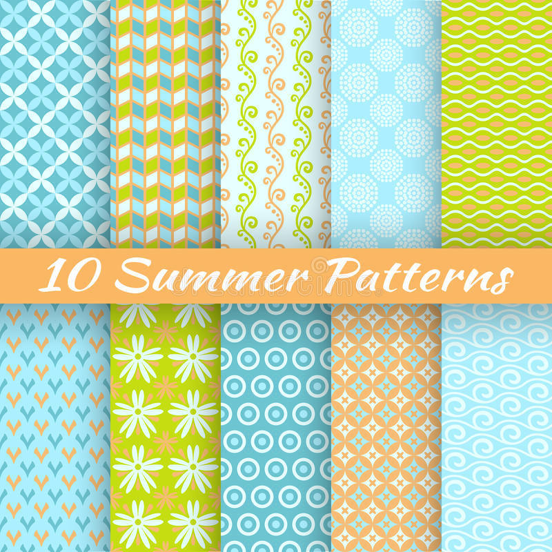 Colorful geometric bright seamless patterns vector illustration
