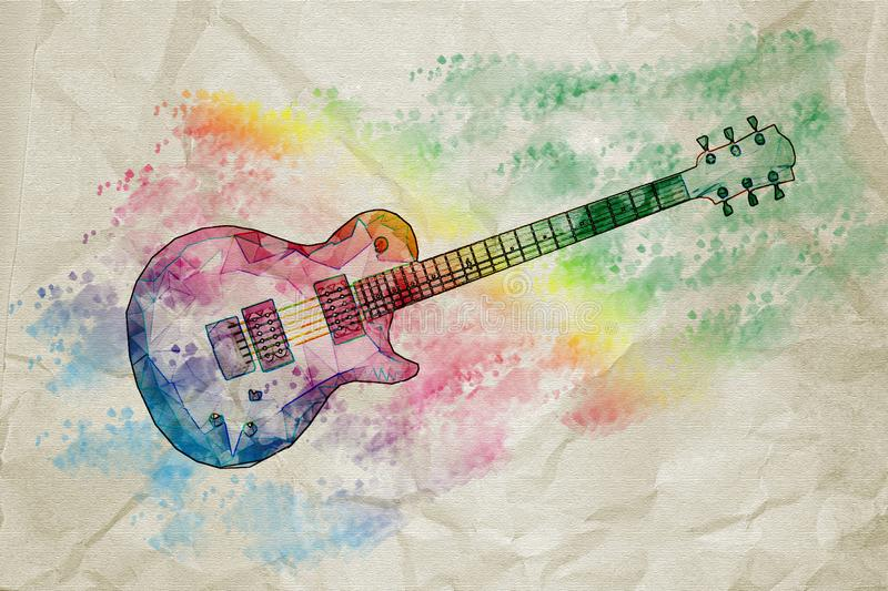 Colorful geometric guitar with watercolors effect vector illustration