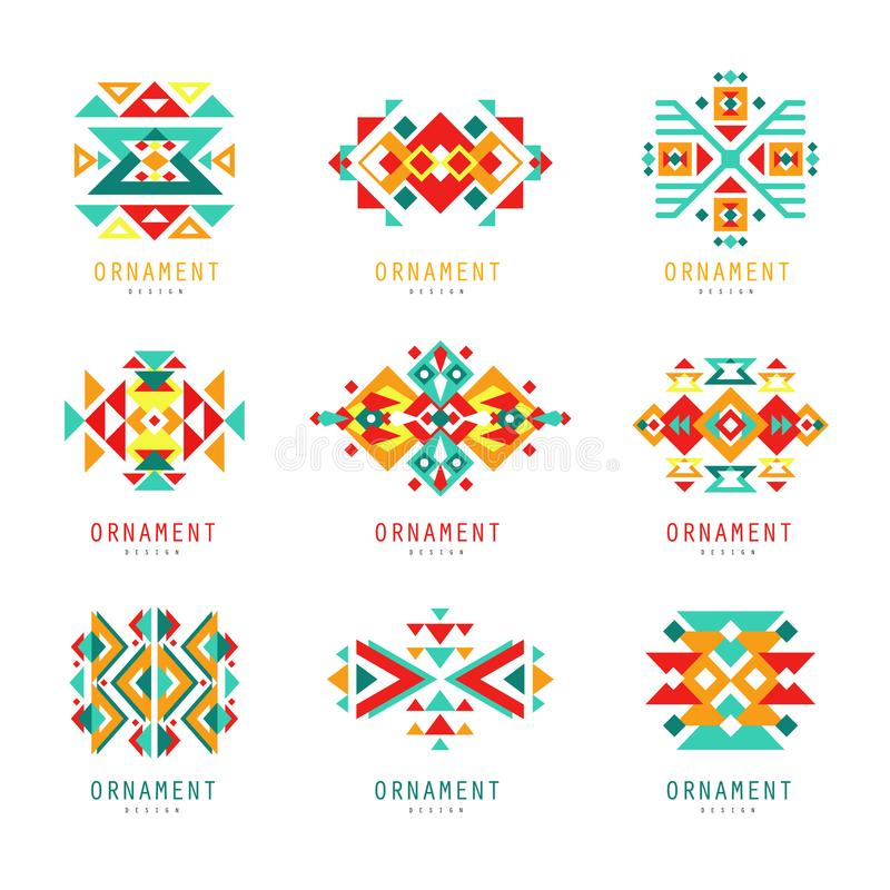 Colorful geometric ornament set, abstract logo elements vector Illustrations. On a white background royalty free illustration