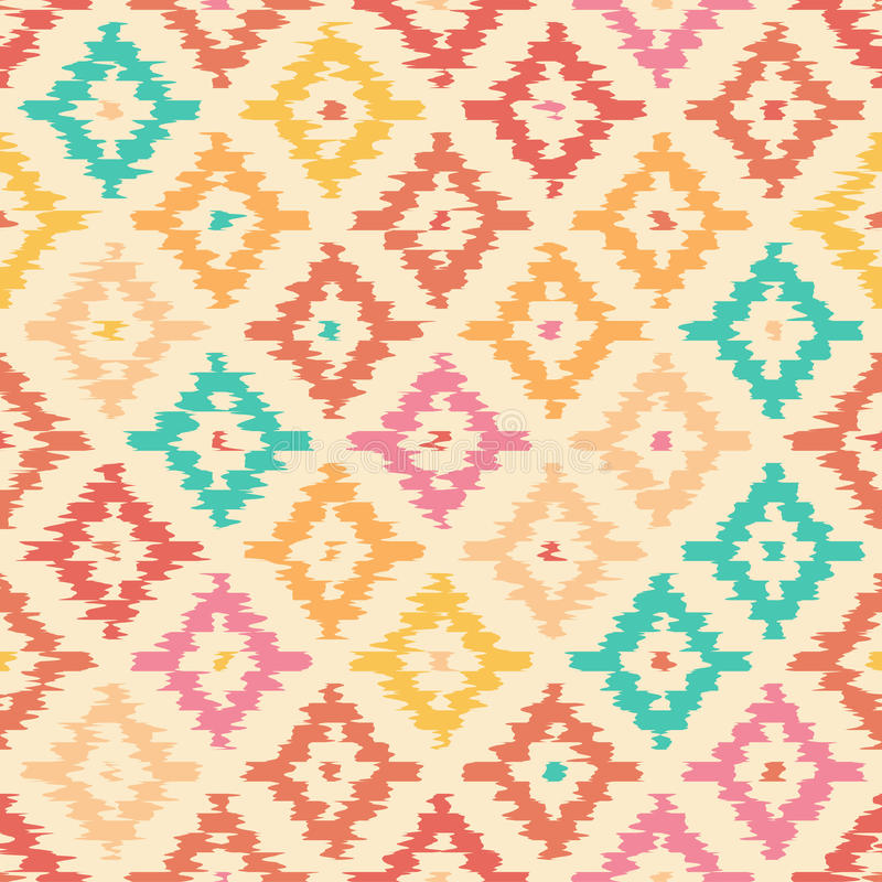 Colorful geometric seamless pattern made in ikat technique stock illustration