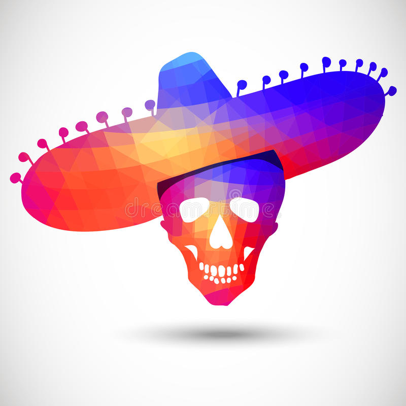 Colorful geometric skull in sombrero vector illustration