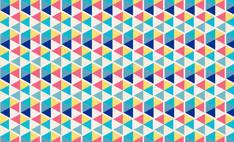 Colorful geometric triangles pattern wallpaper mural. Illustration design royalty free illustration