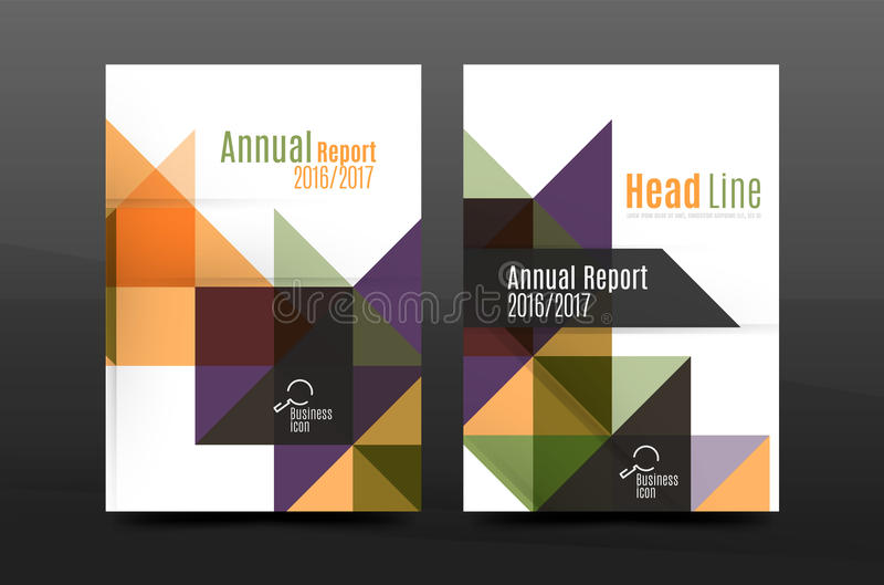 Colorful geometry design annual report a4 cover brochure template layout, magazine, flyer or leaflet booklet. Modern minimal triangle pattern. Vector stock illustration