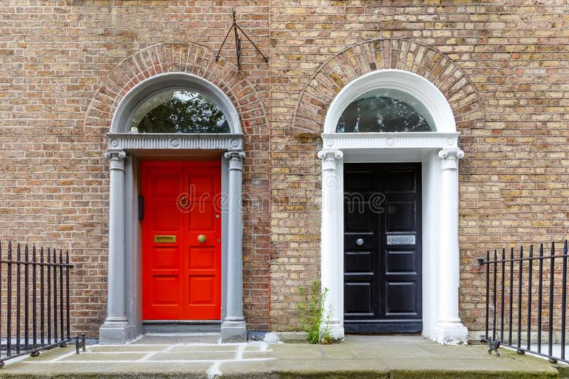 Colorful georgian doors in Dublin, Ireland. Historic doors in different colors painted as protest against English King stock images