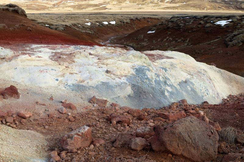 Seltun geothermal area in Iceland. Bubbling mud pools and steaming hot springs. Colorful geothermal area called Seltun. Bubbling mud pools and steaming hot stock photography