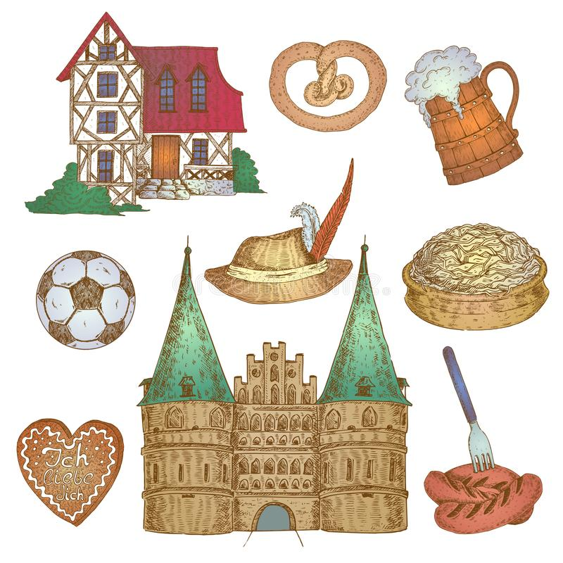 Colorful Germany Icon Set. Nine isolated hand drawn germany decorative elements set with traditional house and castle fronts and food vector illustration vector illustration