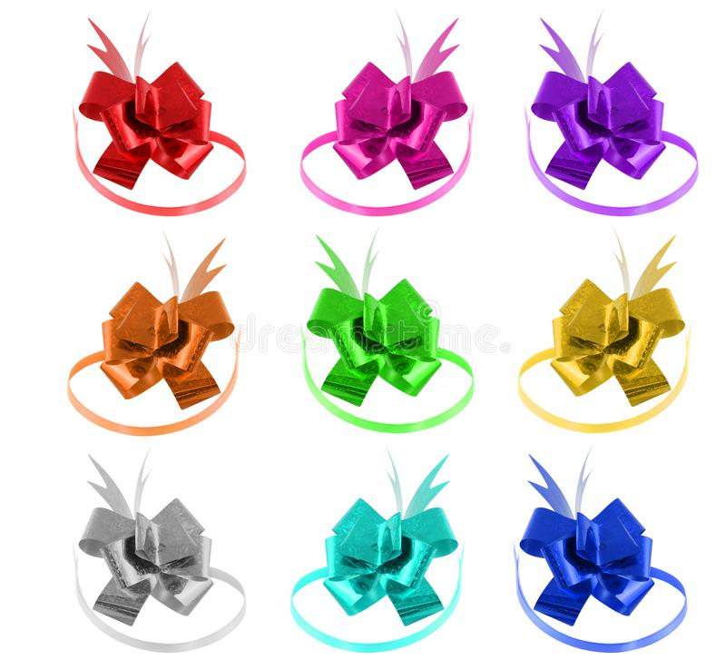 Colorful gift bows set isolated on white background. They can be used for wrapping Christmas and birthday gifts. Decorate your gift, celebration, decoration stock photography