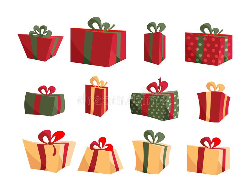 Colorful Gift Box Collections. Set of present boxes flat vector. Happy birthday. Merry Christmas. Gifts with bows and. Ribbons. Set of wrapped gift boxes vector illustration
