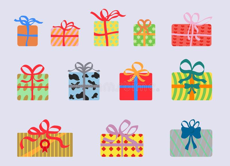 Colorful gift boxes as clip art. Beautiful packed gifts. Colorful gift boxes as clip art royalty free illustration