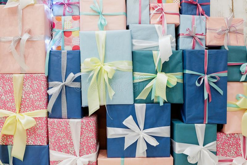 Colorful gift boxes background stock photo
