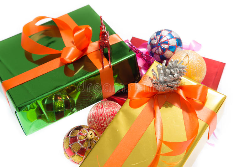 Colorful gift boxes Beautiful. Isolated white background. royalty free stock image