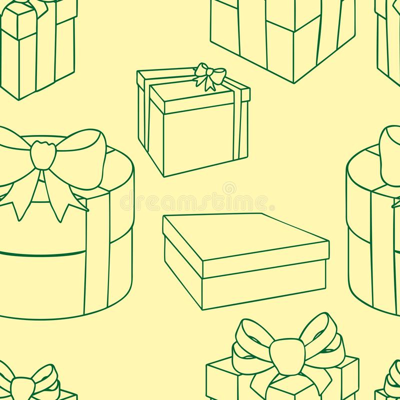 Colorful gift boxes with bows and ribbons. Vector seamless illustration. stock illustration