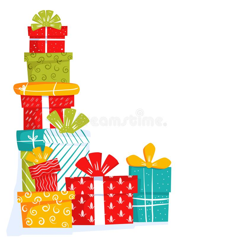 Colorful gift boxes for holiday celebrations. Christmas, new year, wedding or birthday gifts. Template for greeting. Cards for invitation, frame corner isolated vector illustration