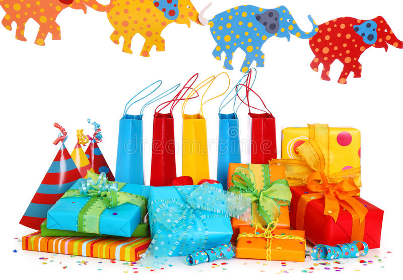Colorful Gift Boxes And Party Hats Stock Photos