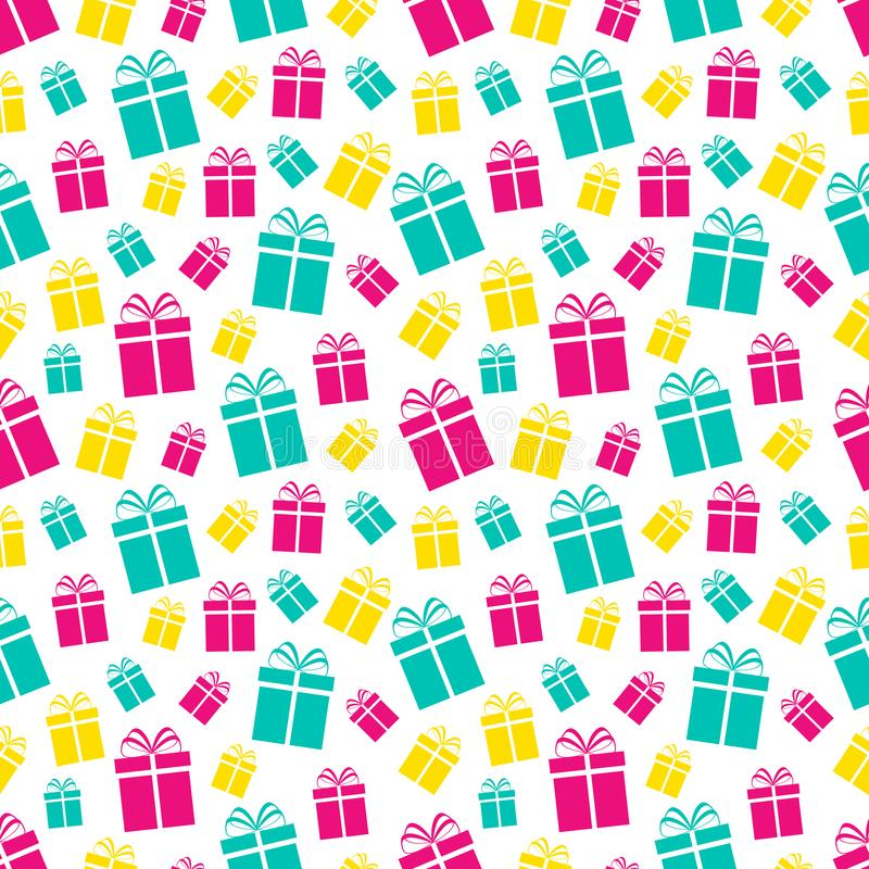 Colorful gift boxes seamless pattern. Holidays background. Colored flat present icons. Repeat texture. Vector illustration. Can us royalty free illustration