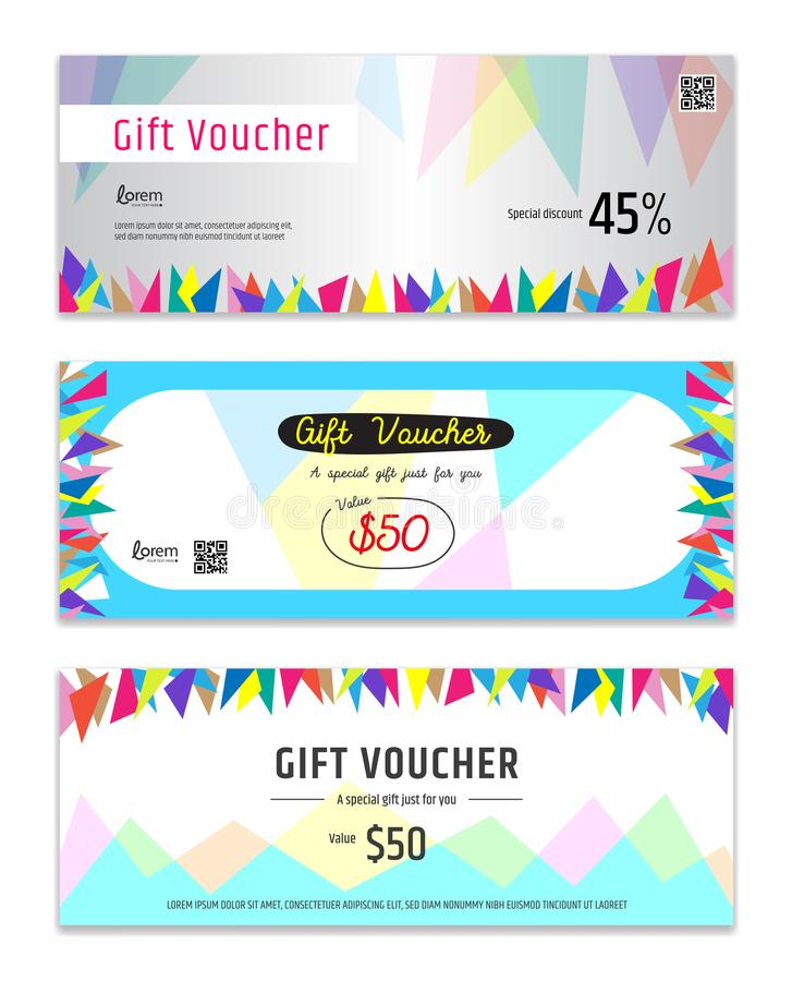 Download Colorful Gift Certificate, Voucher, Gift Card Or Cash Coupon Tem Stock Vector - Illustration of redemption, promo: 107670057