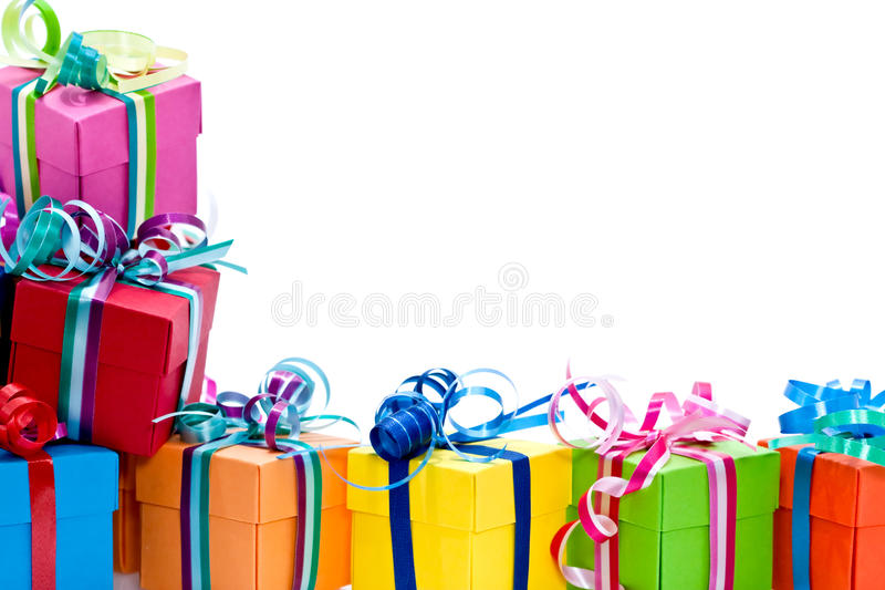 Colorful gifts box royalty free stock photos