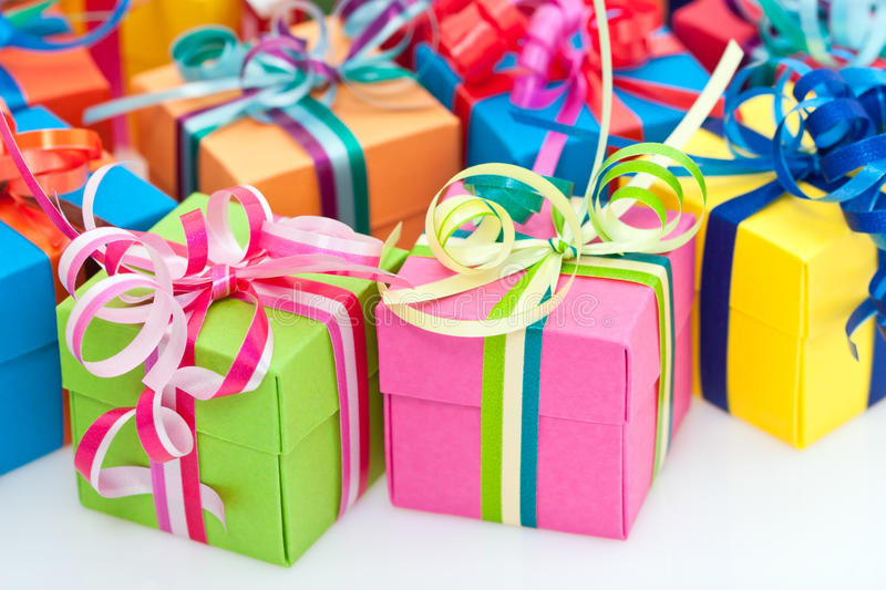 Colorful gifts box royalty free stock photography