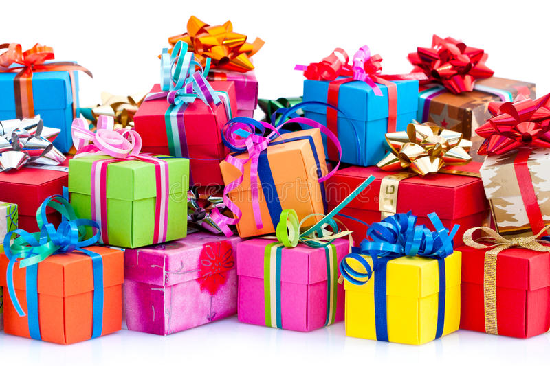 Colorful gifts box stock photography