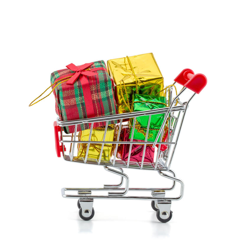colorful gifts box,supermarket shopping cart stock photos