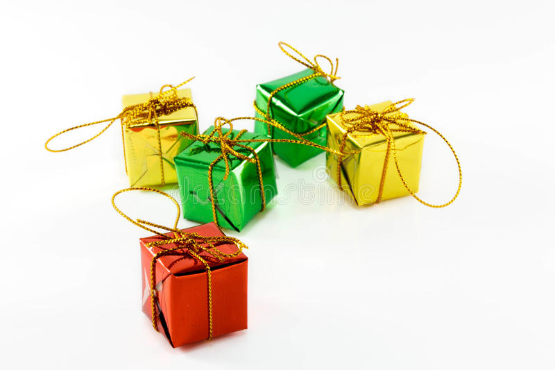 Colorful gifts box on white background. stock photos
