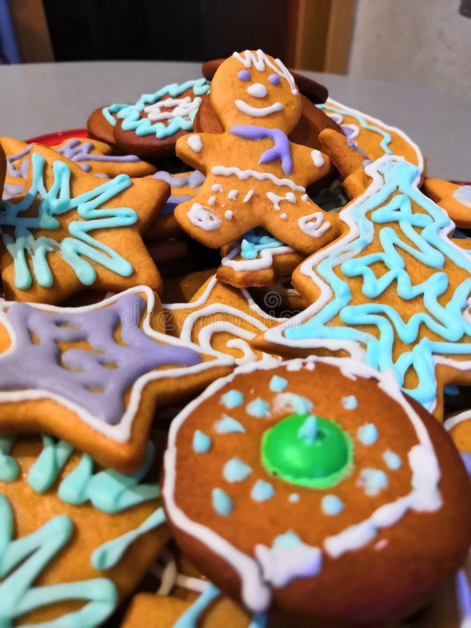 Colorful gingerbread man figurine. Dough art, delicious cakes, figurines of animals and people, abstract, ginger flavor royalty free stock image