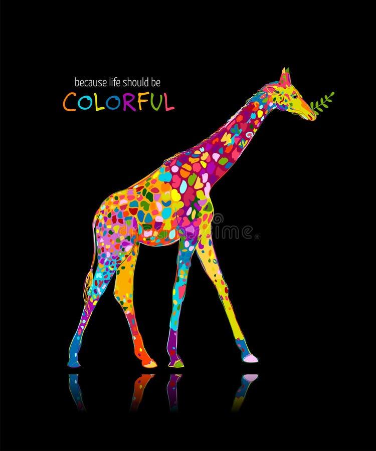 Colorful giraffe, sketch for your design. Vector illustration stock illustration