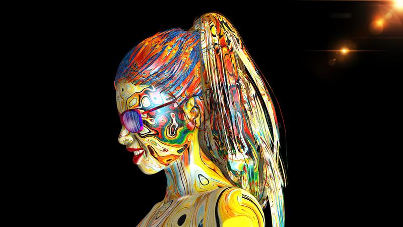 Colorful girl with glasses, portrait of woman with skin covered in colors and long hair isolated on black background, 3D render royalty free illustration