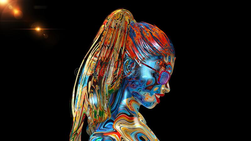 Colorful girl with glasses, woman's head with face covered in paint and long hair isolated on black background, side view, 3D stock illustration