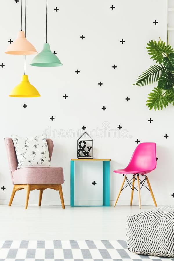Free Colorful Girl`s Room With Chair Royalty Free Stock Photography - 113055987
