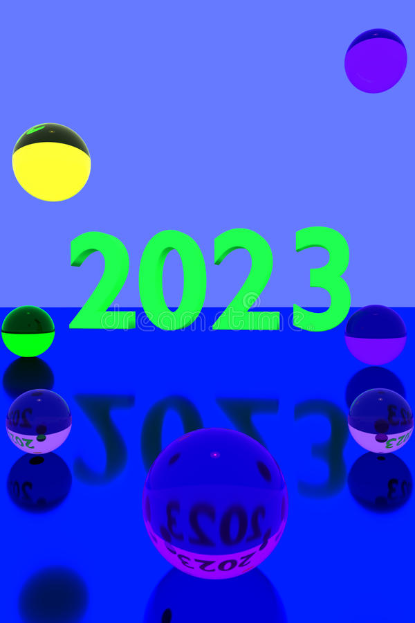 Colorful glass balls on reflective surface and the year 2023 royalty free illustration