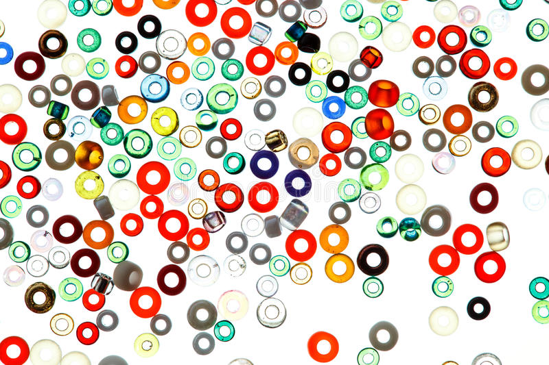 Colorful glass beads isolated on white background. stock images
