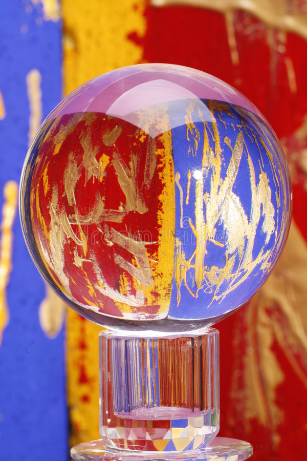 Colorful glass crystal ball royalty free stock photos