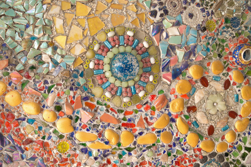 Colorful glass mosaic art and abstract wall. Background royalty free stock photography