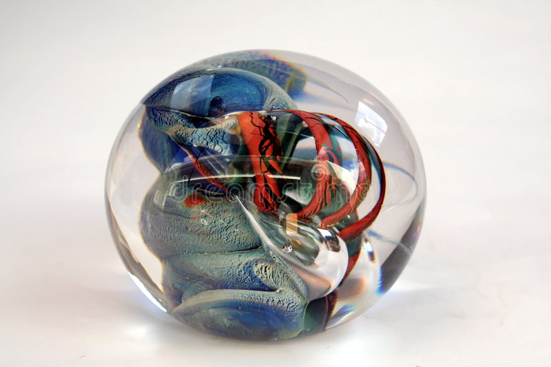 Colorful Glass Paper Weight Stock Photo