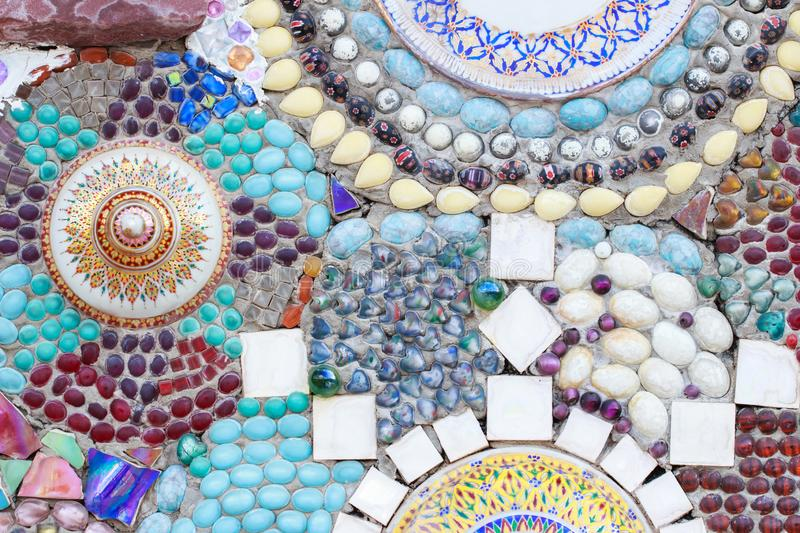 Colorful glass and tile wall texture background, mosaic art. Colorful glass and tile wall texture for background, mosaic art stock images