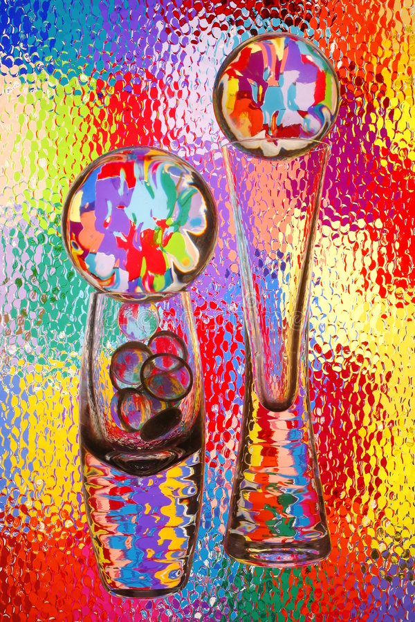 Colorful Glass Vases and Spheres stock image