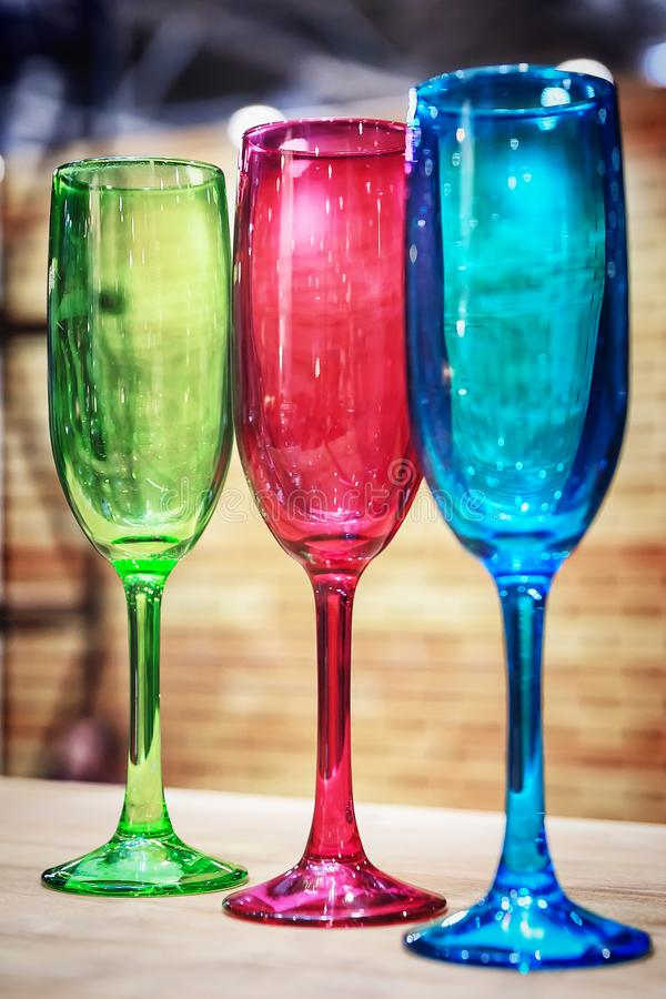 Colorful glassware, glasses stock images