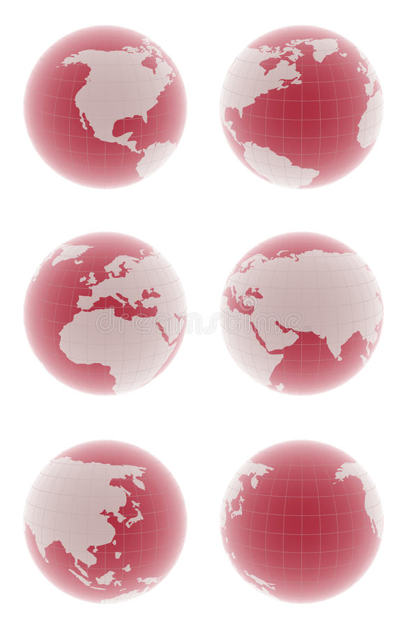 Colorful globes. Beautiful 3d globes on white, different views royalty free illustration