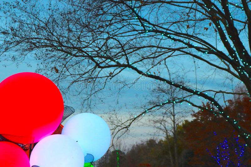 Colorful Globes and Tree Lights Brighten Winter Scene. Christmas holiday lights brighten a winter scene using colorful globes and tiny lights for a festive royalty free stock photos