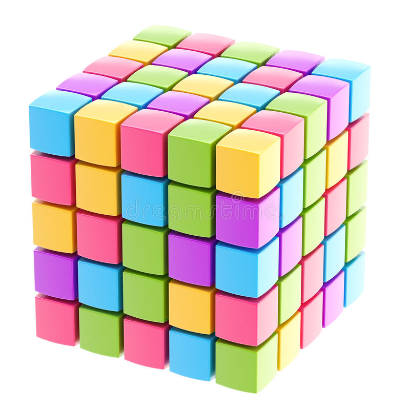 Download Colorful Glossy Cube Isolated Stock Illustration - Image: 28037599