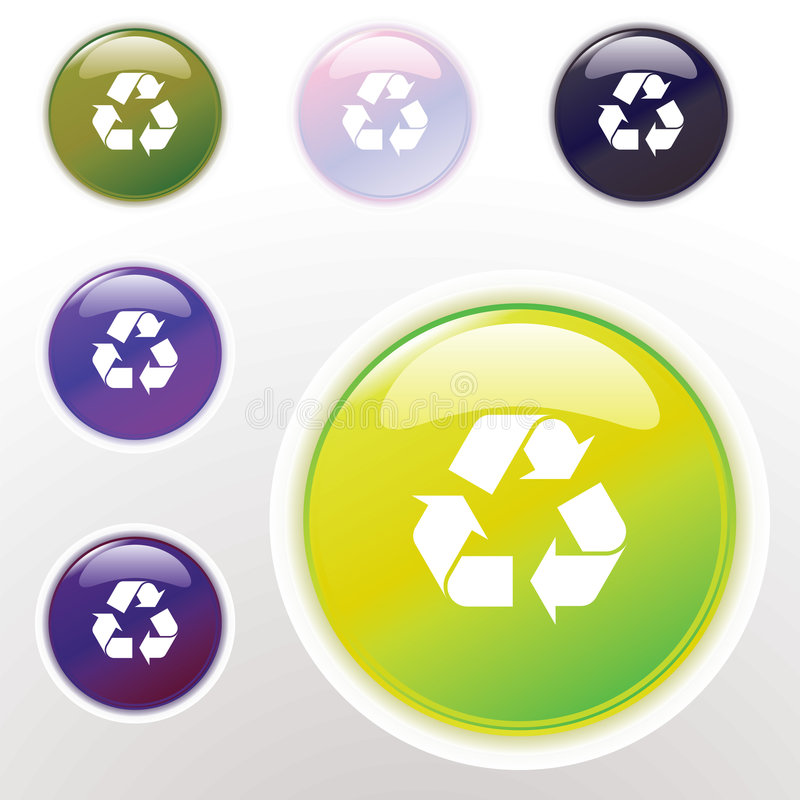 Download Colorful Glossy Recycle Button Stock Vector - Illustration: 9323491