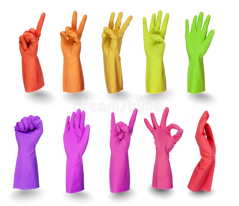 Download Colorful Gloves Signs  On White Stock Image - Image: 21871831