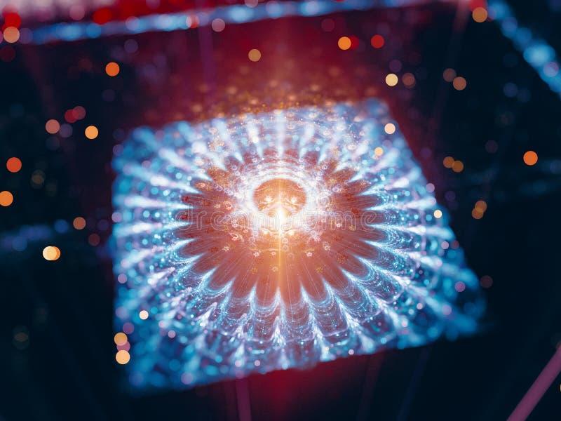 Colorful glowing futuristic quantum processor stock illustration