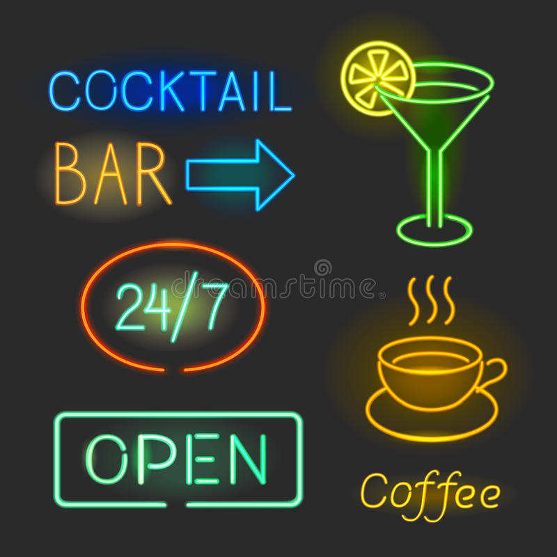 Colorful glowing neon lights graphic designs for cafe and bar signs on black background. vector illustration