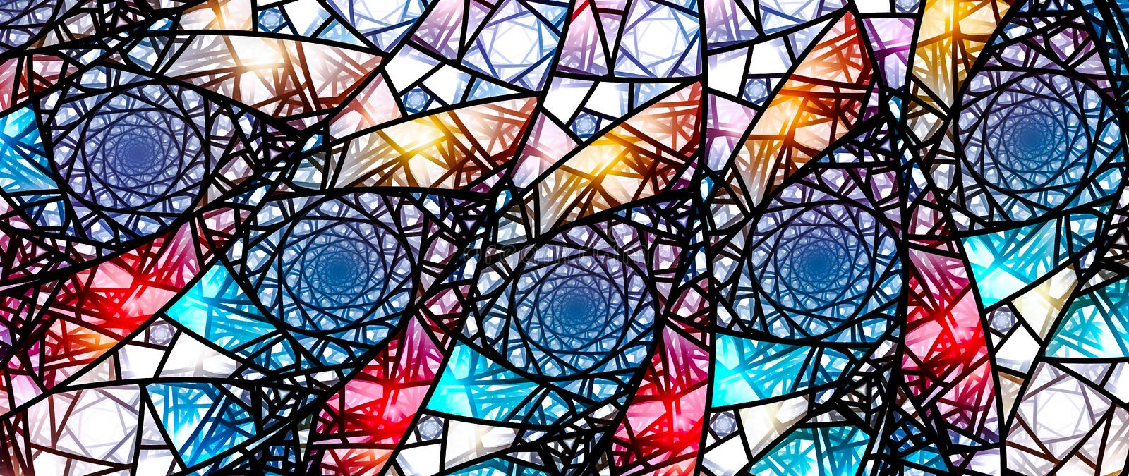 Colorful glowing stained glass, computer generated abstract background 8k widescreen vector illustration